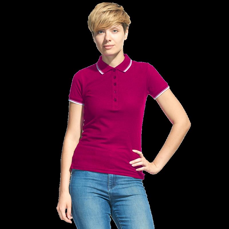 Рубашка поло с контрастной отделкой, StanTrophyWomen, 04BK, Бордовый (66), XS/42