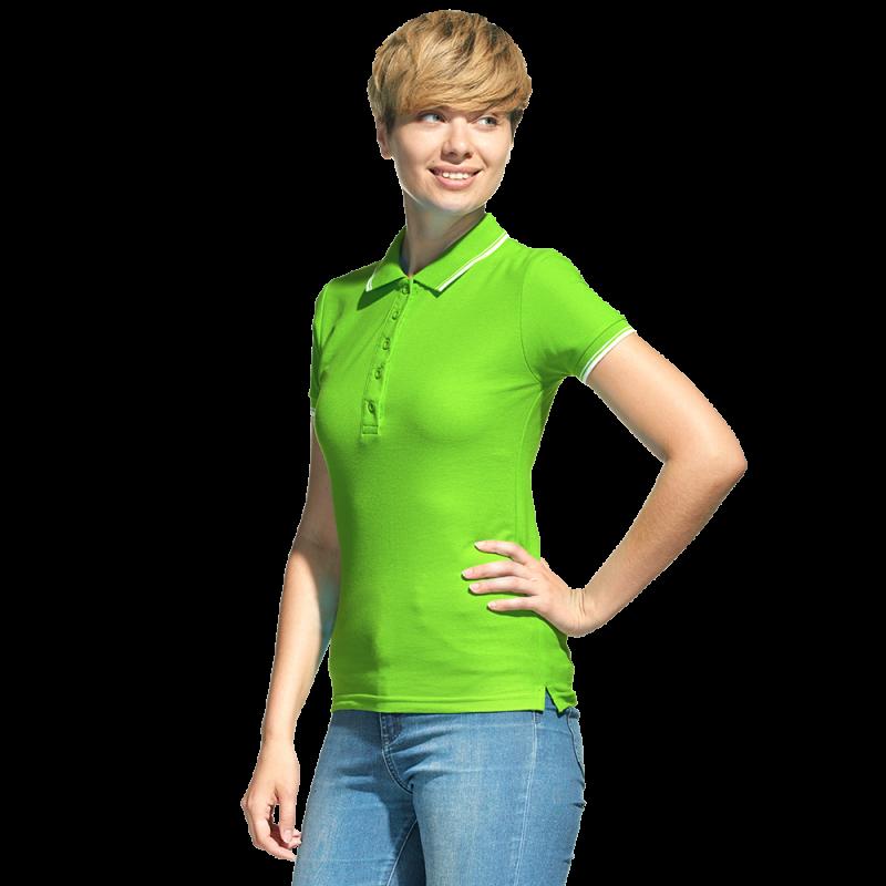 Рубашка поло с контрастной отделкой, StanTrophyWomen, 04BK, Ярко-зелёный (26), M/46