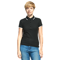 Рубашка поло с контрастной отделкой, StanTrophyWomen, 04BK, Чёрный (20), L/48