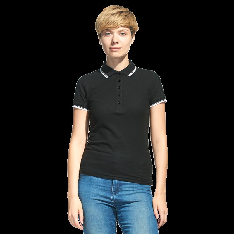 Рубашка поло с контрастной отделкой, StanTrophyWomen, 04BK, Чёрный (20), M/46