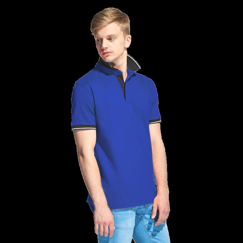Мужская рубашка поло с контрастным воротником, StanContrast, 04C, Синий (16), XXXL/56