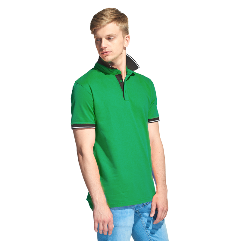 Мужская рубашка поло с контрастным воротником, StanContrast, 04C, Зелёный (30), XS/44