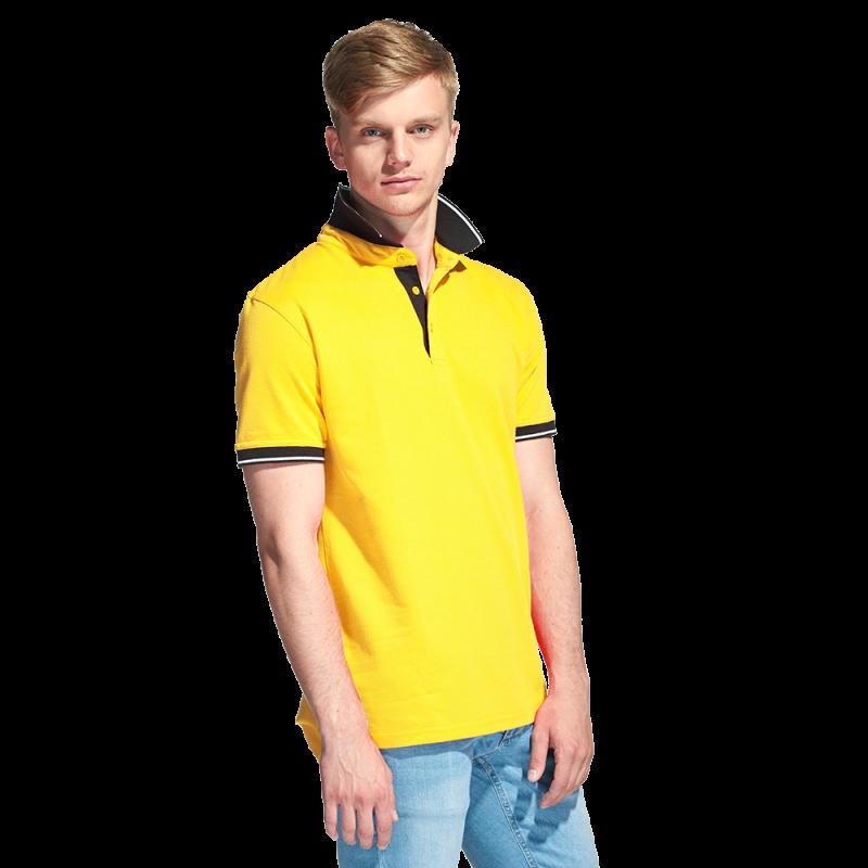 Мужская рубашка поло с контрастным воротником, StanContrast, 04C, Жёлтый (12), XXL/54