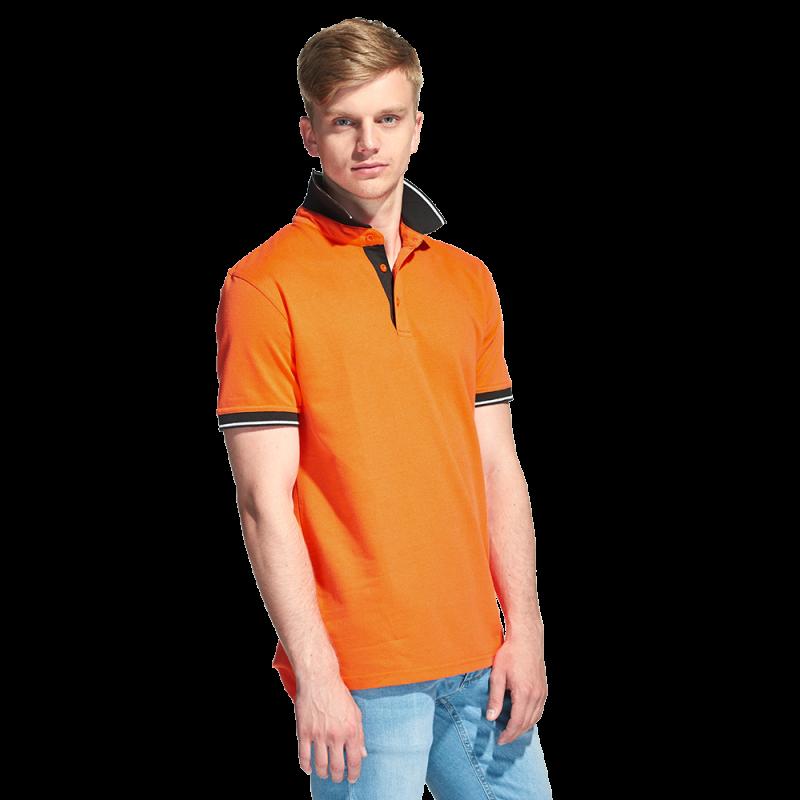 Мужская рубашка поло с контрастным воротником, StanContrast, 04C, Оранжевый (28), XS/44