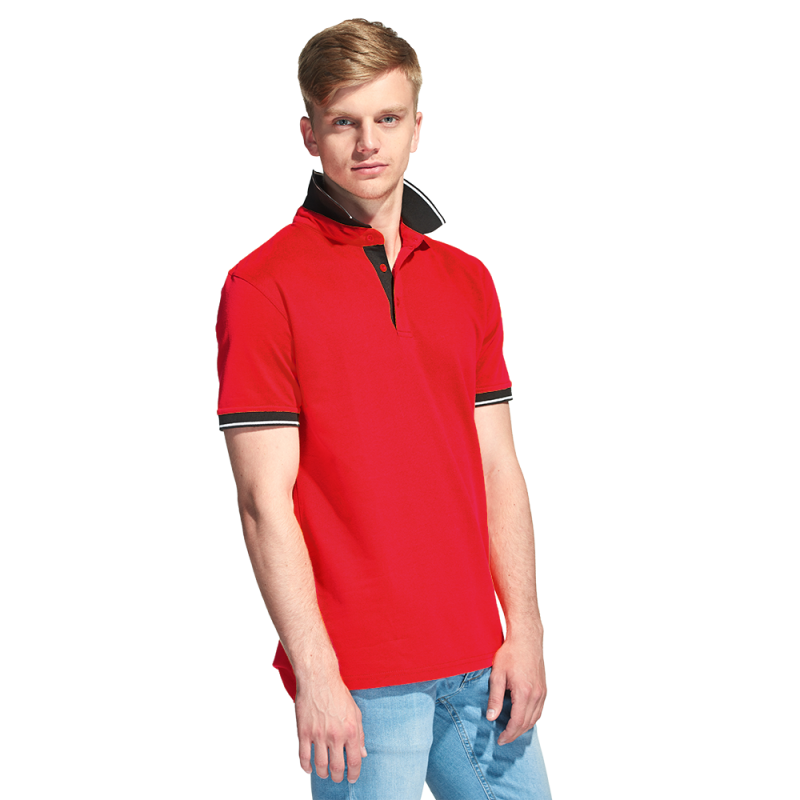 Мужская рубашка поло с контрастным воротником, StanContrast, 04C, Красный (14), XS/44
