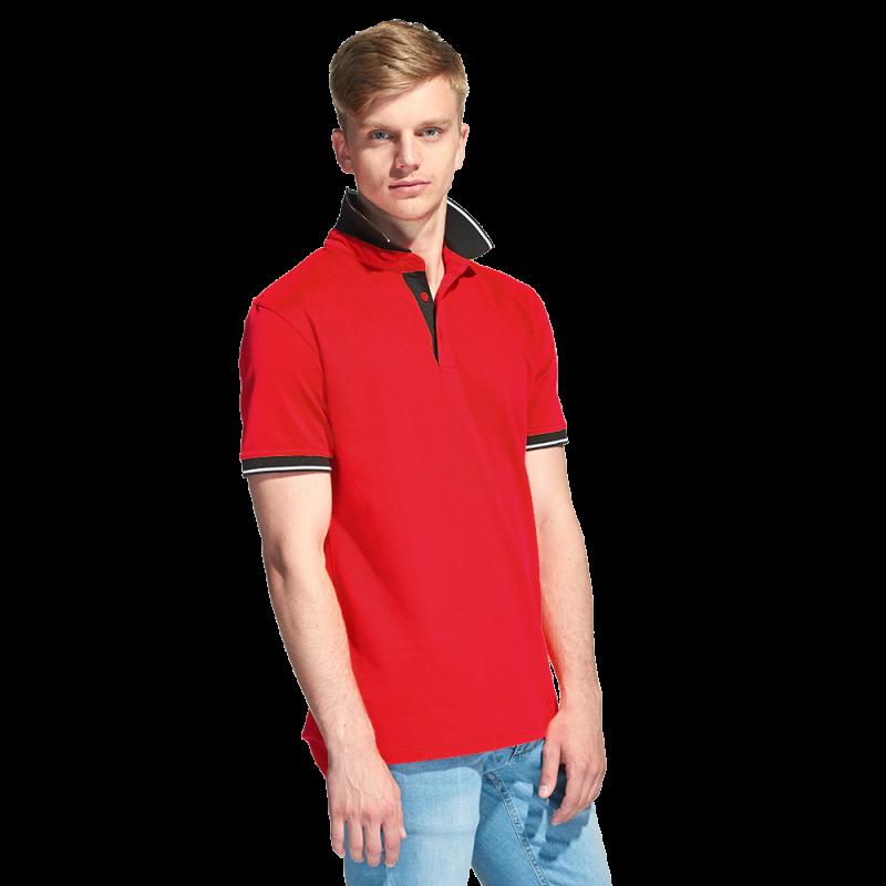 Мужская рубашка поло с контрастным воротником, StanContrast, 04C, Красный (14), XXL/54