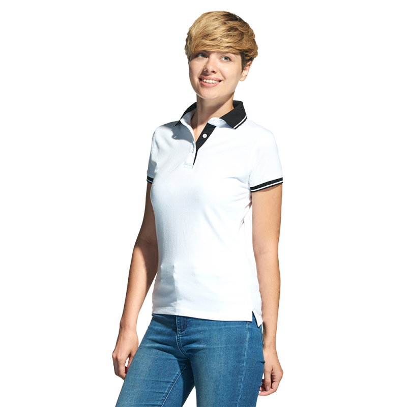 Женская рубашка поло с контрастным воротником, StanContrastWomen, 04CW, Белый (10), XL/50