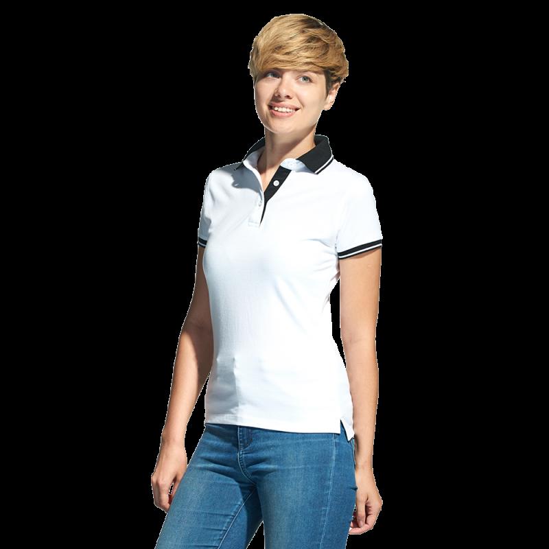Женская рубашка поло с контрастным воротником, StanContrastWomen, 04CW, Белый (10), XS/42