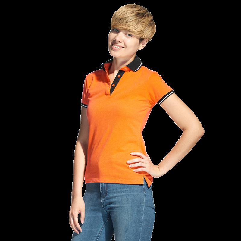 Женская рубашка поло с контрастным воротником, StanContrastWomen, 04CW, Оранжевый (28), L/48