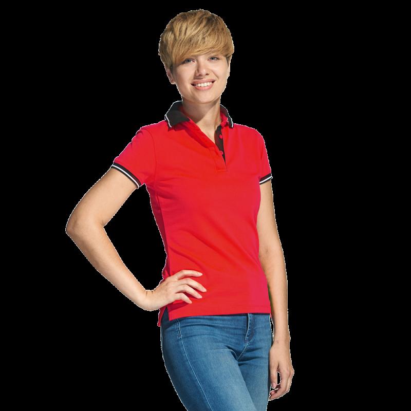 Женская рубашка поло с контрастным воротником, StanContrastWomen, 04CW, Красный (14), L/48
