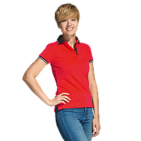 Женская рубашка поло с контрастным воротником, StanContrastWomen, 04CW, Красный (14), S/44