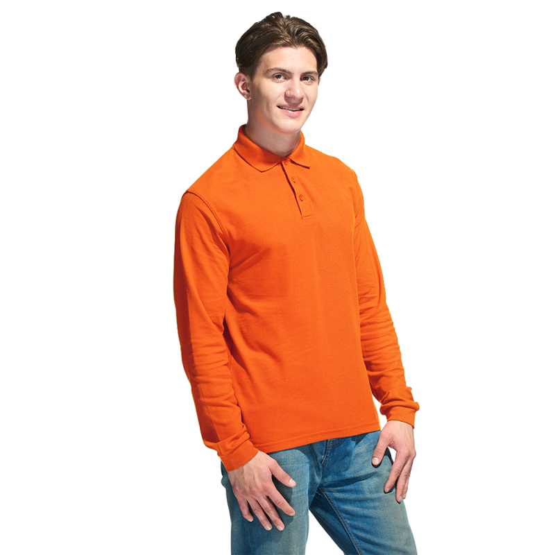 Рубашка поло с длинным рукавом, StanPolo, 04S, Оранжевый (28), XXXL/56