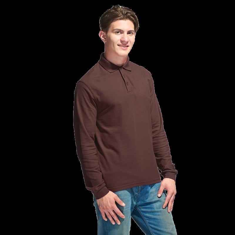 Рубашка поло с длинным рукавом, StanPolo, 04S, Тёмно-Шоколадный (107), XXL/54