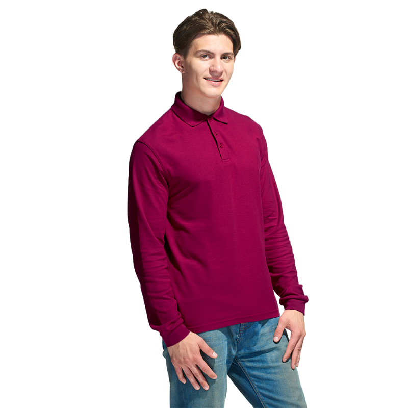 Рубашка поло с длинным рукавом, StanPolo, 04S, Бордовый (66), S/46