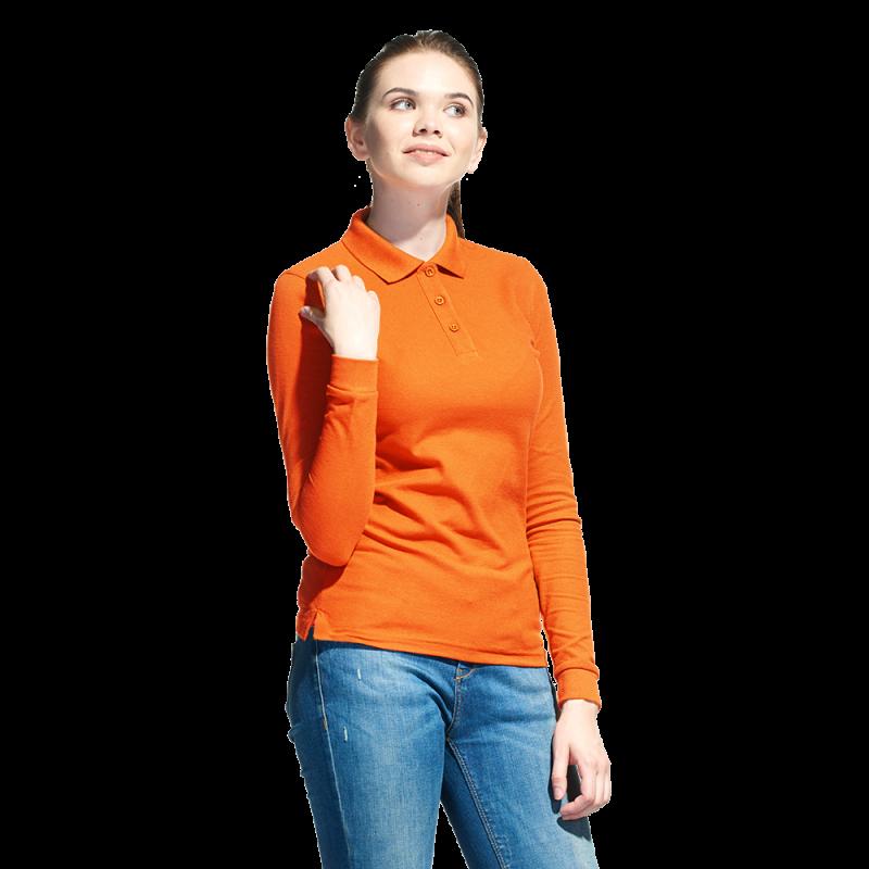 Рубашка поло с длинным рукавом, StanPoloWomen, 04SW, Оранжевый (28), S/44