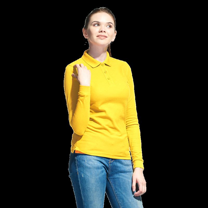 Рубашка поло сдлинным рукавом, StanPoloWomen, 04SW, Жёлтый (12), XXL/52