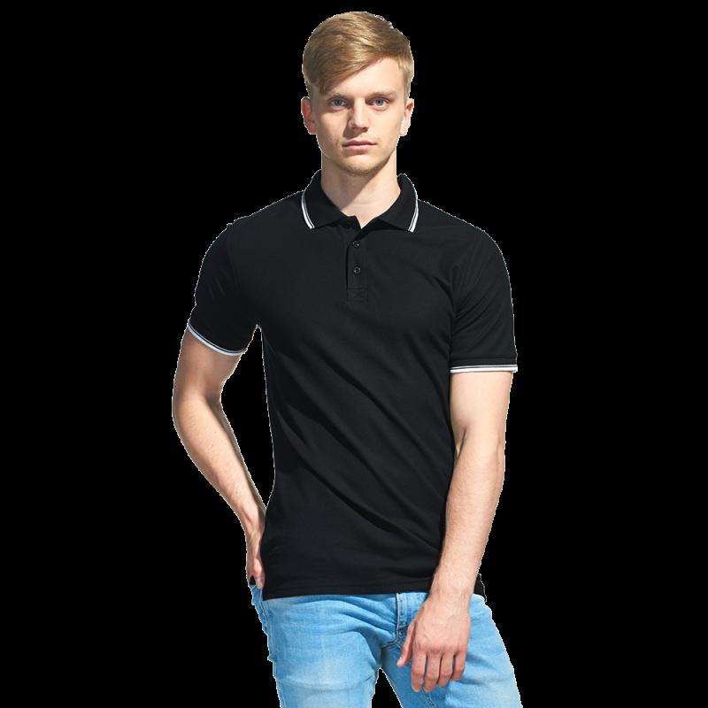 Мужская рубашка поло с отделкой, StanTrophy, 04T, Чёрный (20), S/46