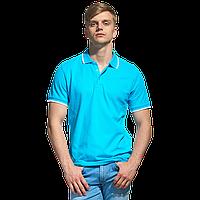 Мужская рубашка поло с отделкой, StanTrophy, 04T, Бирюзовый (32), XL/52