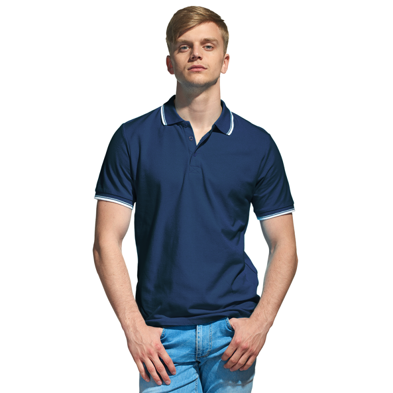 Мужская рубашка поло с отделкой, StanTrophy, 04T, Тёмно-синий (46), XS/44