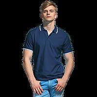 Мужская рубашка поло с отделкой, StanTrophy, 04T, Тёмно-синий (46), XXXL/56