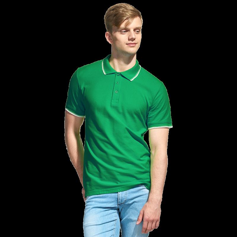 Мужская рубашка поло с отделкой, StanTrophy, 04T, Зелёный (30), XS/44
