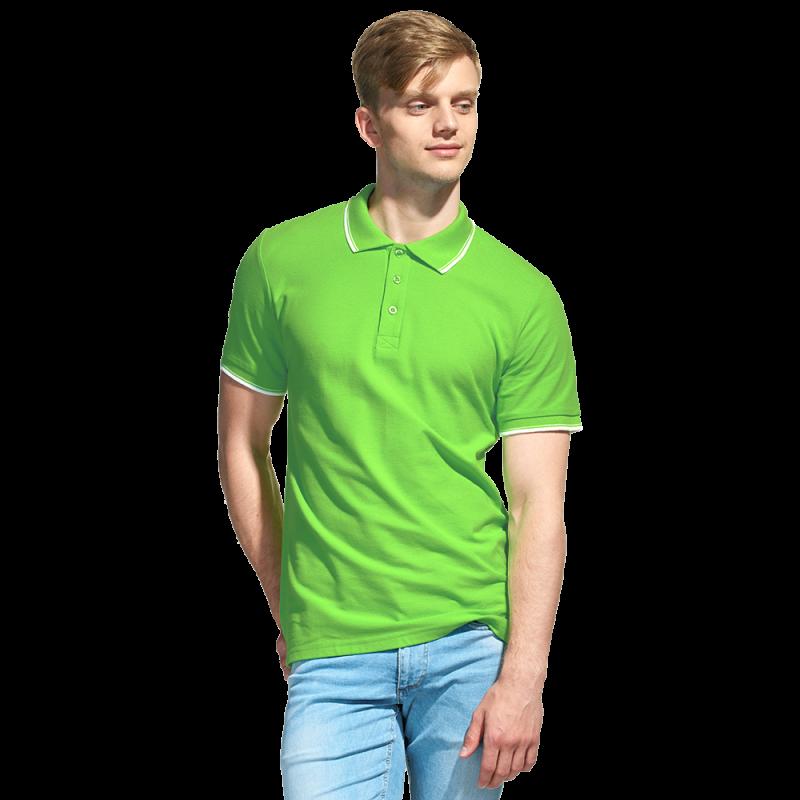 Мужская рубашка поло с отделкой, StanTrophy, 04T, Ярко-зелёный (26), L/50