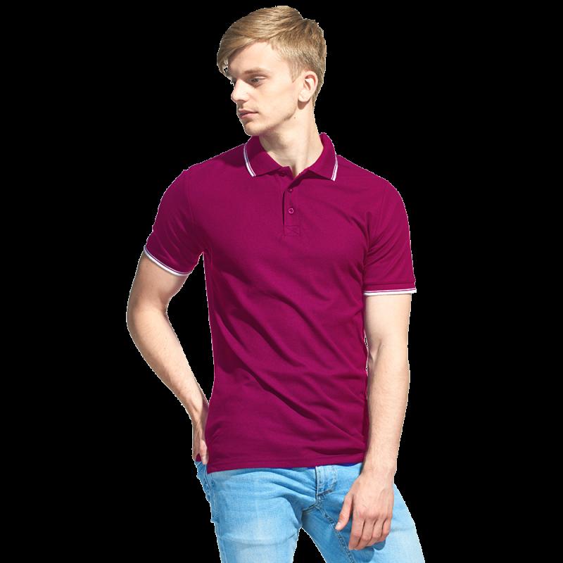 Мужская рубашка поло с отделкой, StanTrophy, 04T, Бордовый (66), XS/44