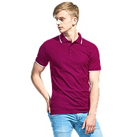 Мужская рубашка поло с отделкой, StanTrophy, 04T, Бордовый (66), S/46