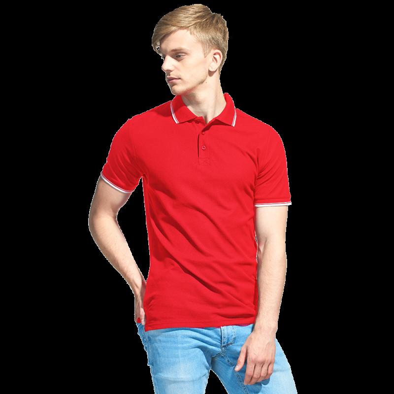 Мужская рубашка поло с отделкой, StanTrophy, 04T, Красный (14), S/46