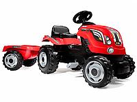 Трактор педальный Smoby XL с прицепом, красный