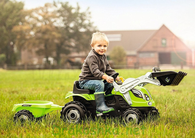 Педальный трактор с ковшом и прицепом Smoby - фото 1