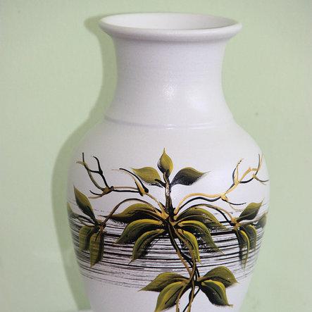 """Керамическая ваза для цветов ручной работы """"Зеленые листья,""""20-25 см, фото 2"""