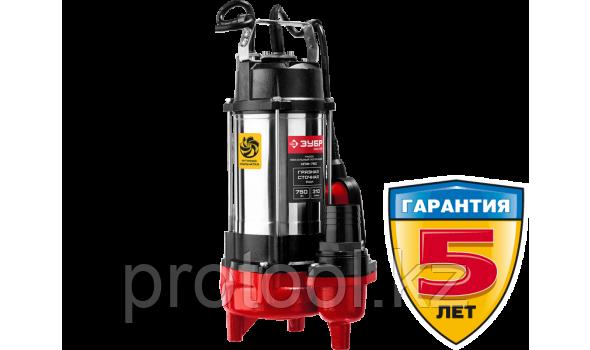 Насос фекальный погружной, ЗУБР НПФ-750, 750 Вт, пропускная способность 310 л/мин, напор 14 м, чугунный корпус