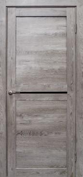 Дверь Вектор, цвет дуб дымчатый, черное стекло
