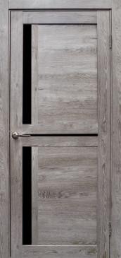 Дверь Медиана, цвет дуб дымчатый, черное стекло