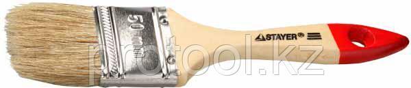 """Кисть плоская STAYER """"UNIVERSAL-EURO"""", светлая натуральная щетина, деревянная ручка, 75мм, фото 2"""
