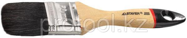 """Кисть плоская STAYER """"UNIVERSAL-EURO"""", чёрная натуральная щетина, деревянная ручка, 50мм"""