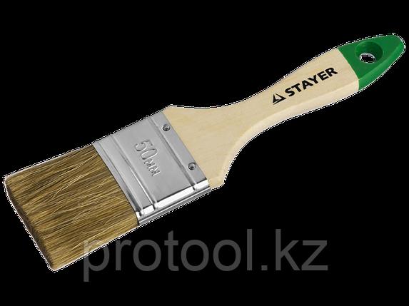 """Кисть плоская STAYER """"LASUR-STANDARD"""", смешанная (натуральная и искусственная) щетина, деревянная ручка, 75мм, фото 2"""