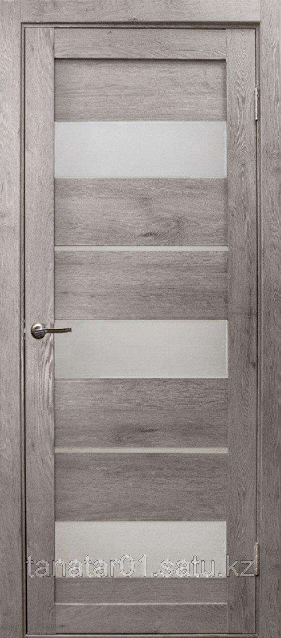 Дверь Параллель, цвет дуб дымчатый, матовое стекло