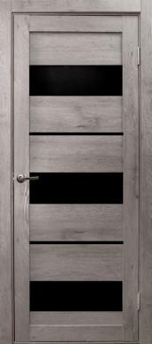 Дверь Параллель, цвет дуб дымчатый, черное стекло