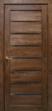 Дверь Линия, дуб шоколадный, черное стекло