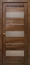 Дверь Параллель, цвет дуб шоколадный, матовое стекло