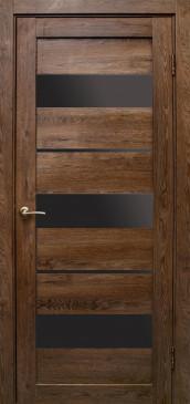 Дверь Параллель, цвет дуб шоколадный, черное стекло