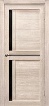Дверь Медиана, цвет лиственница кремовая, черное стекло