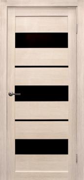 Дверь Параллель, цвет лиственница кремовая, черное стекло
