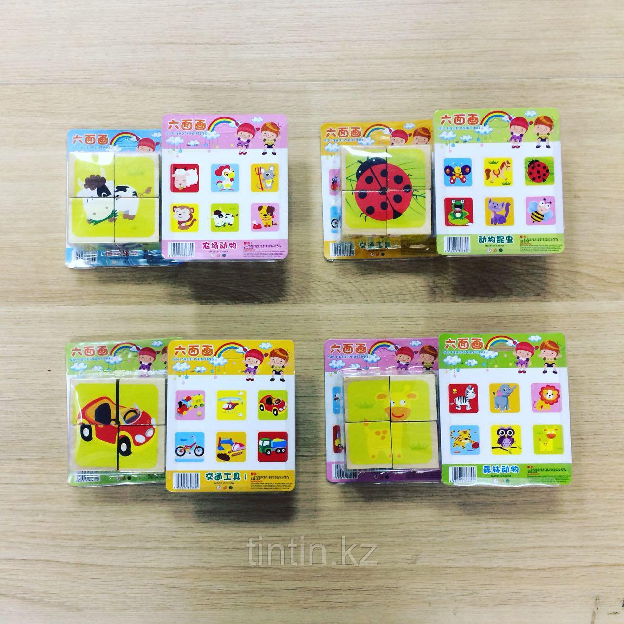 Деревянные кубики-пазлы из 4 элементов