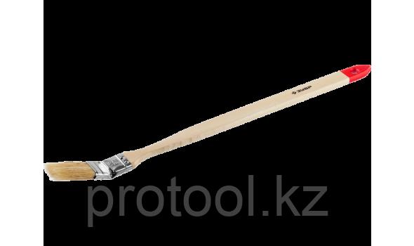 """Кисть радиаторная угловая ЗУБР """"УНИВЕРСАЛ-МАСТЕР"""", светлая натуральная щетина, деревянная ручка, 25мм"""