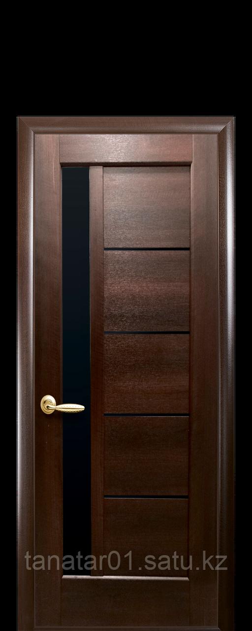 """Дверь """"Грета"""" с чёрным стеклом каштан"""
