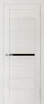 Дверь Вектор, цвет ясень, черное стекло