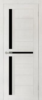 Дверь Медиана, цвет ясень, черное стекло